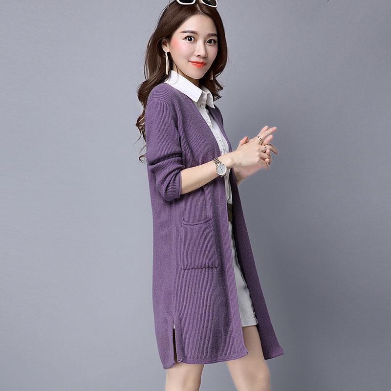 Flash Sale selendang dan bagian panjang kardigan Korea Fashion Style sweater (Ungu)