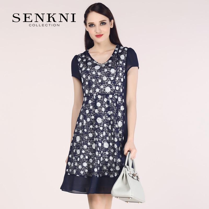 Flash Sale Senkni s161287ed jahitan sifon pakaian wanita ukuran besar renda manik-manik lengan pendek