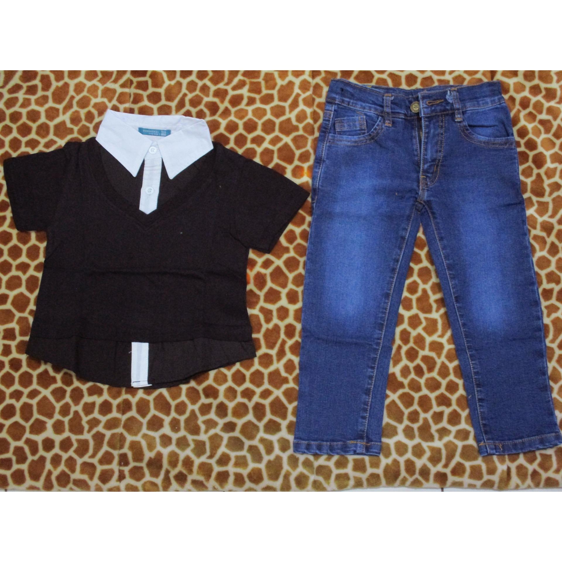 Harga Saya Senshukei Setelan 3 In 1 Kaos Blazer Celana Jeans Biru Baju Anak Laki Model Dan Cocok Untuk Lebaran
