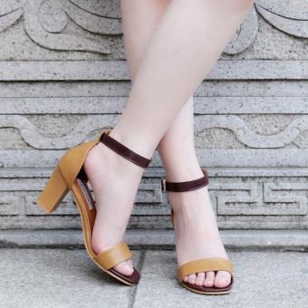 Sepatu Bertumit Wanita Sandal Ikan Mulut Tinggi (coklat) LALANG - Intl