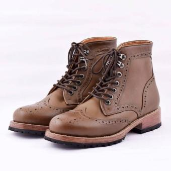 Gambar sepatu boots pria kulit asli azcost roura brown (sol beneuh)limited  edition shoes 268094d069