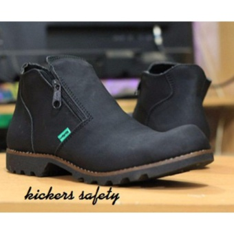 Sepatu Boots Safety Kickers Sleting Pria / Ujung Besi - Hitam