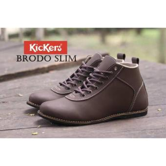 Sepatu Casual Kickers Brodo Slim Darkbrown