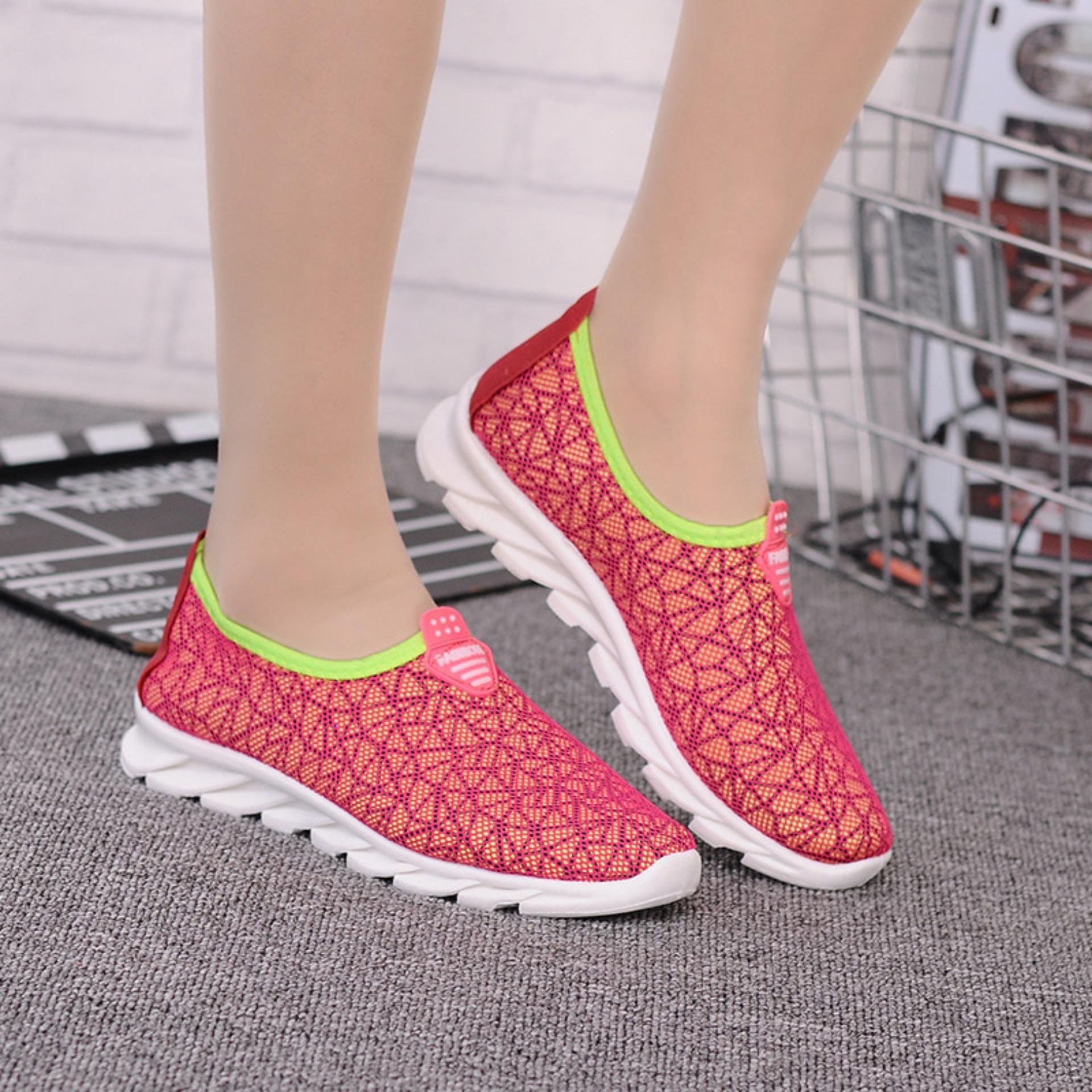 Sepatu Import Jaring - Sepatu Korea Pria Wanita Warna Pink .