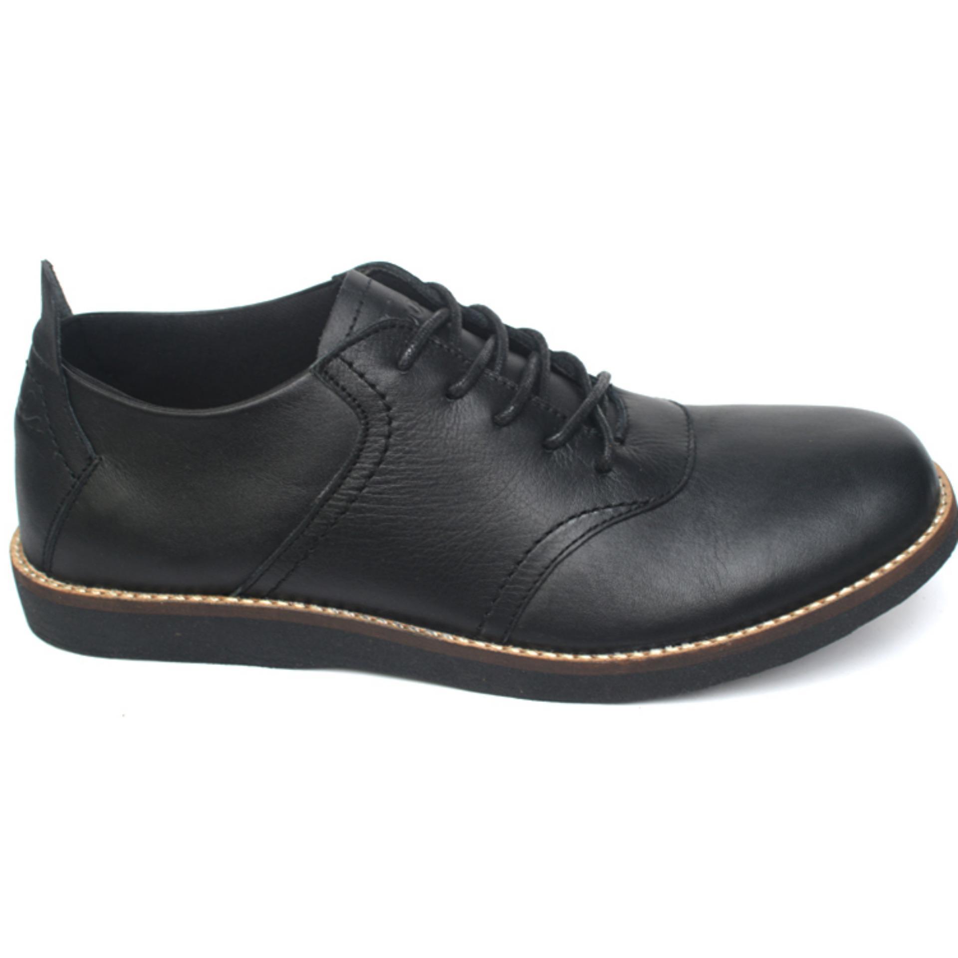 Eshop Checker Sepatu Kasual Formal Pria Kulit Asli Toods Spectre Footwear Longwing Black