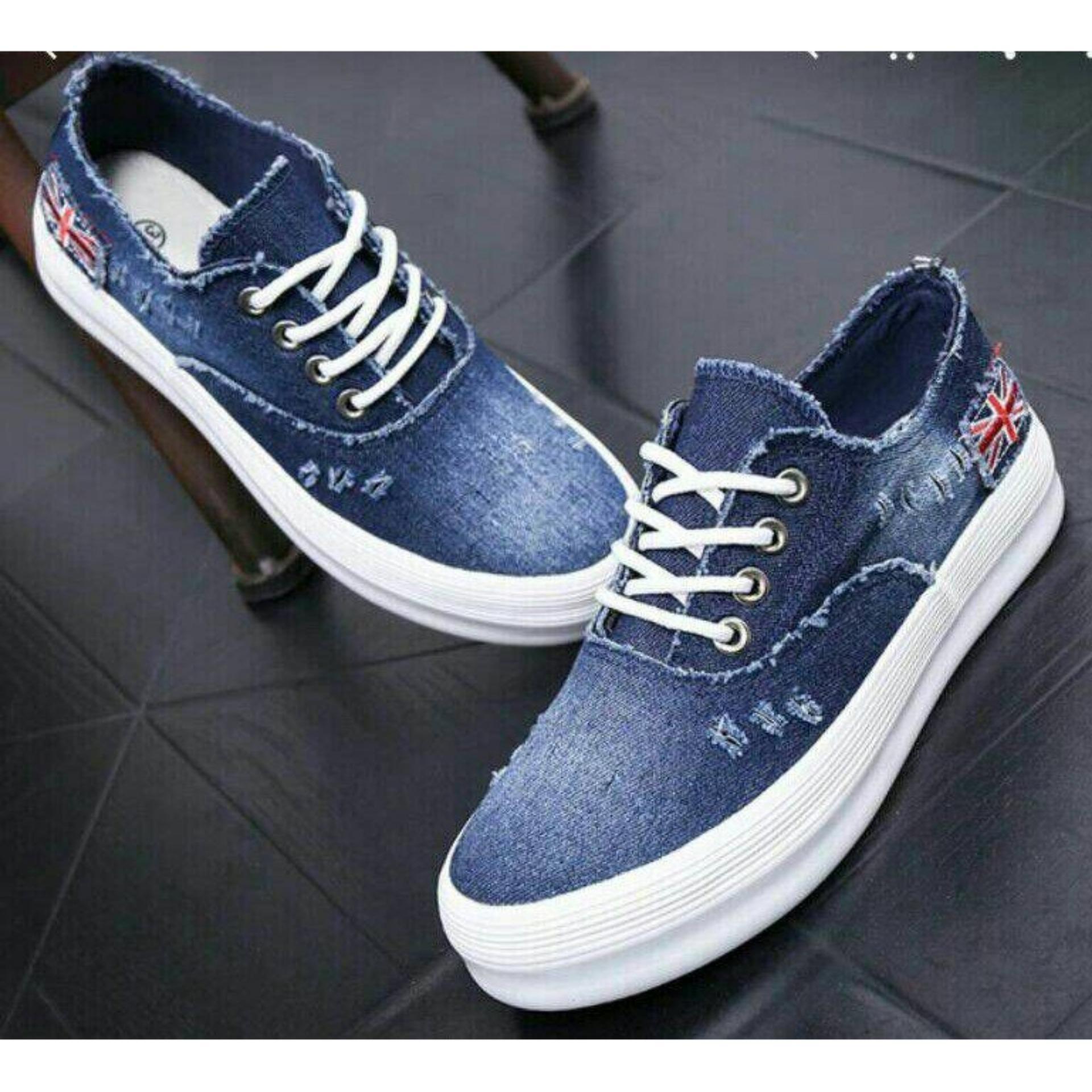 Nyaman di kaki Sepatu Kets Jeans Wanita Bendera England Denim - Biru Tua