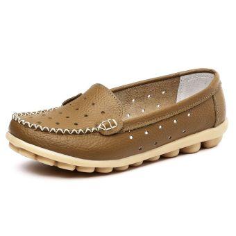 Sepatu Lapisan Tunggal Wanita Warna Putih Kulit Asli Sol Datar Berongga (Khaki bagian berongga)