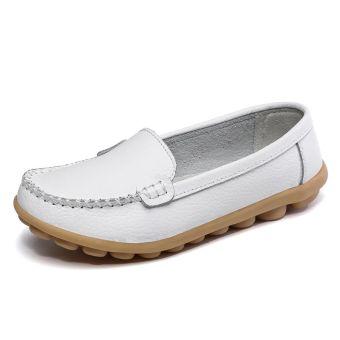 Sepatu Lapisan Tunggal Wanita Warna Putih Kulit Asli Sol Datar Berongga (Putih model sederhana)