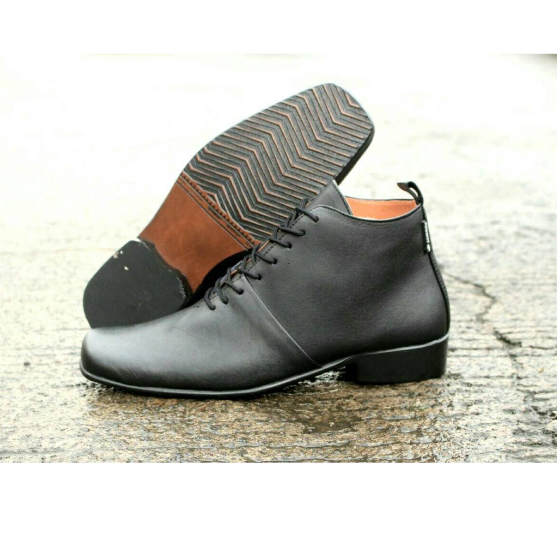 Sepatu Pantofel Pria Kulit Asli Cevany Pacuan Coklat Daftar Pantopel Badami Woody Black