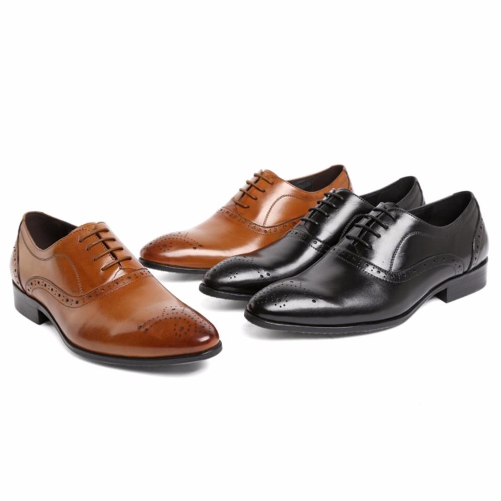 Wetan Shoes Sepatu Pantofel Oxford Pria Bahan Kulit Coklat Tan Casual Boston Hormone Pesta Bisa Untuk Kerja Kantor