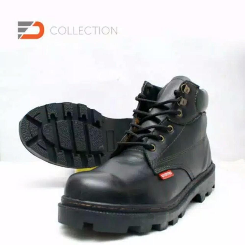 BEST SELLER Sepatu Safety Boots Pria Kulit Sapi Asli Murah dan Berkualitas - Black