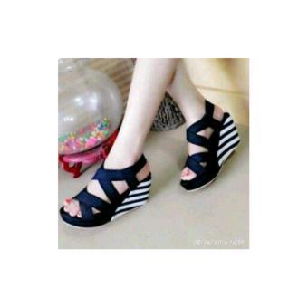 harga Sepatu Sandal / Sendal Wedges Belang untuk Wanita / Cewek BahanSuede / Beludru / Bludru Tinggi 9cm / 9 cm | GRM69 Lazada.co.id