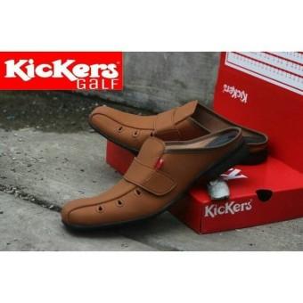 Sepatu Sendal Haji dan Umroh Kickers Sepatu Sendal Kulit Pria Breathable (Coklat hitam tan)