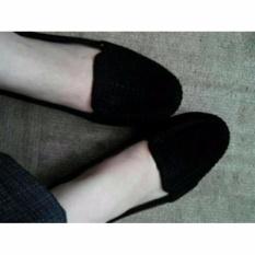 Sepatu Wanita Flat Jelly Bludru - Black