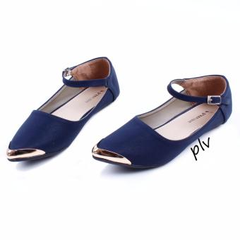 Pluvia - Sepatu Flat Shoes Wanita Terbaru Mary Jane AG06 - Navy