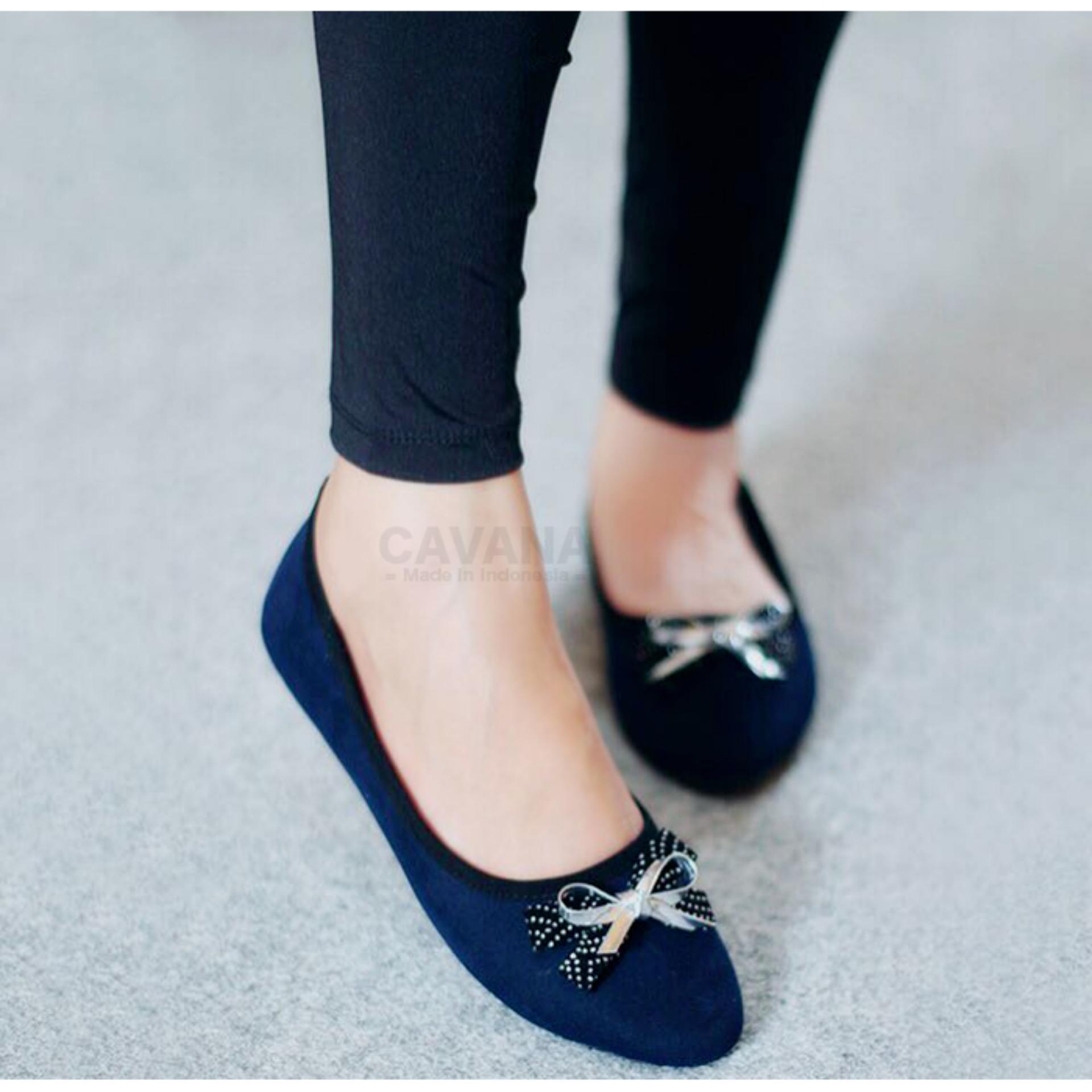 Sepatu Wanita Flat Shoes Slip On Pita Sdb87 Biru Dongker