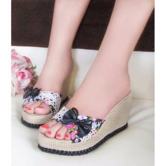 harga Sepatu Wanita Murah - Wedges Selop Bunga Hitam NFZ07 Lazada.co.id