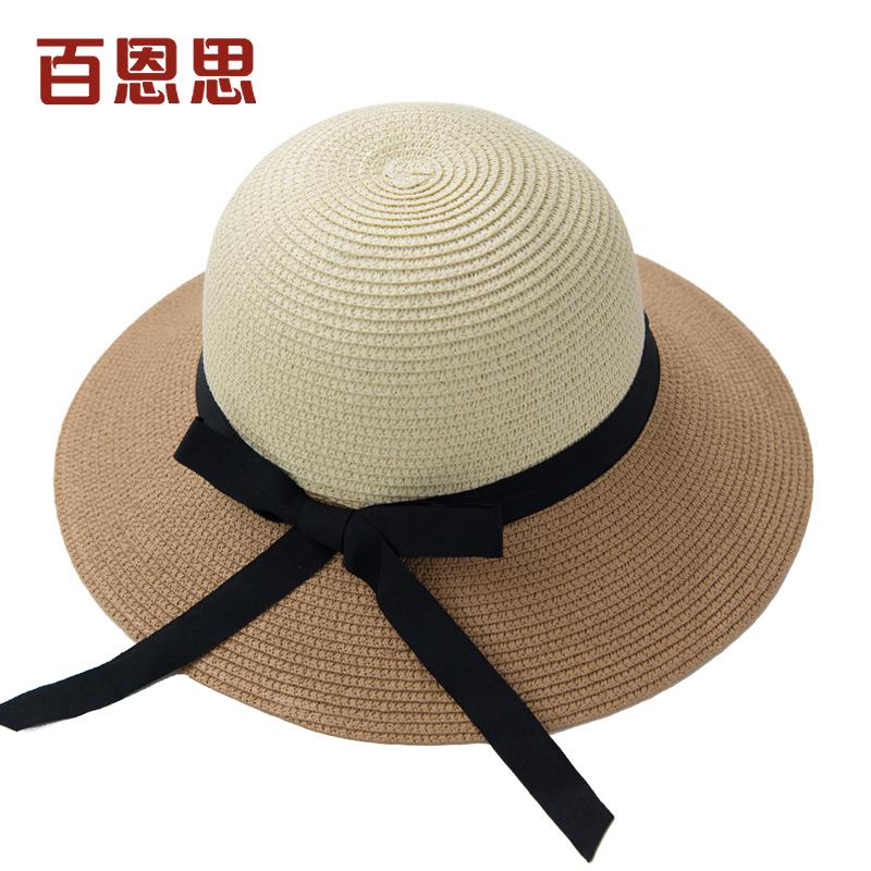 YBC Fashion Panas Musim Kasual Perempuan Pinggiran Lebar Topi Jerami Topi Pantai Matahari .