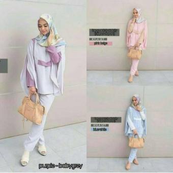 Setelan Murah Muslim Baju Kupu Set Cantik Fashion Hijab Terbaru