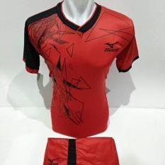 setelan olahraga kaos bola jersey futsal baju volly mizuno triangle merah