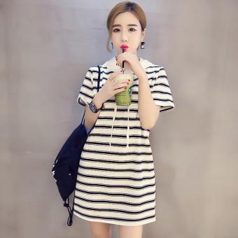 Shanke Kaos Wanita Model Panjang Sedang Longgar Lengan Pendek Motif Salur (5805 putih)