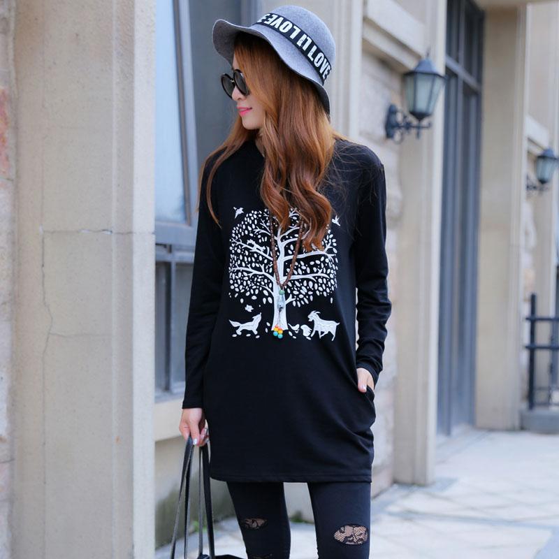 Shishang baru lindung nilai leher bulat lengan panjang sweater wanita (Hitam )