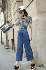 Shishang blue high-waisted regular jeans ankle-length pants (Biru)