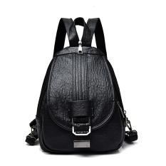Shishang Dicuci kulit perempuan Messenger bag penggunaan ganda tas ransel (Hitam)