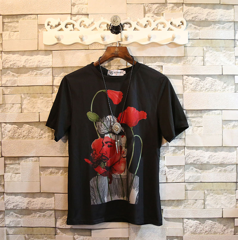 Flash Sale Shishang musim panas leher bulat lengan pendek t-shirt (Hitam)
