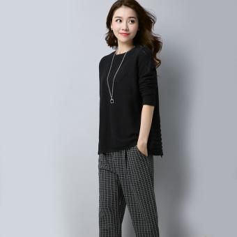 Belanja murah Shishang perempuan pullover kasual lengan panjang leher bulat sweater baru sweater (Hitam)
