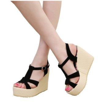 harga SHOES Sandal Wanita Wedges Sepatu Sendal Cewek - Hitam Lazada.co.id
