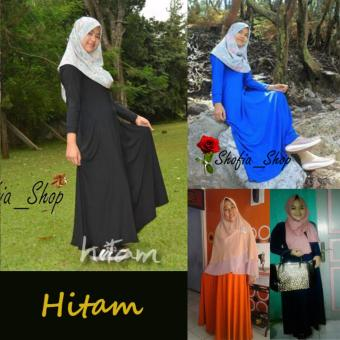 Shofia - Hitam - Gamis Polos Jersey Super Busui Muslimah All SizeFit to XL