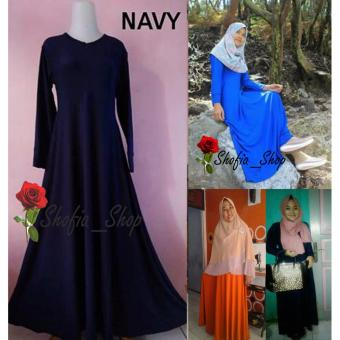 Shofia - Navy - Gamis Polos Jersey Super Busui Muslimah All SizeFit to XL