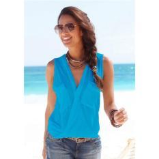 Shopaholic  Baju Pantai Wanita Sleeveless V Neck Beach Shirt