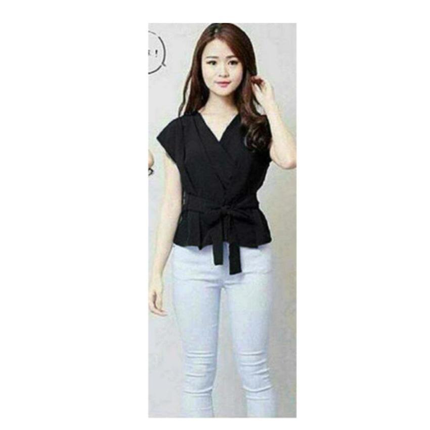 Shoppaholic Shop Blouse Wanita Baju Kimono Top - Hitam / Baju Wanita / Blouse Korea /