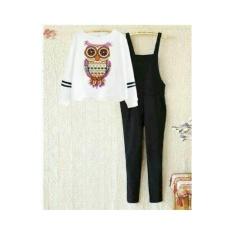 Shoppaholic Shop Jumpsuit Wanita Owl + Free Inner / Setelan Wanita /Jamsuit / Jamsuit Wanita / Celana Panjang / Celana Kodok / Baju Kodok