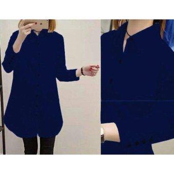 Shoppaholic Shop Kemeja Wanita Tunik Wanita Aqua Button - Navy /Dress Muslim/ Gamis Wanita