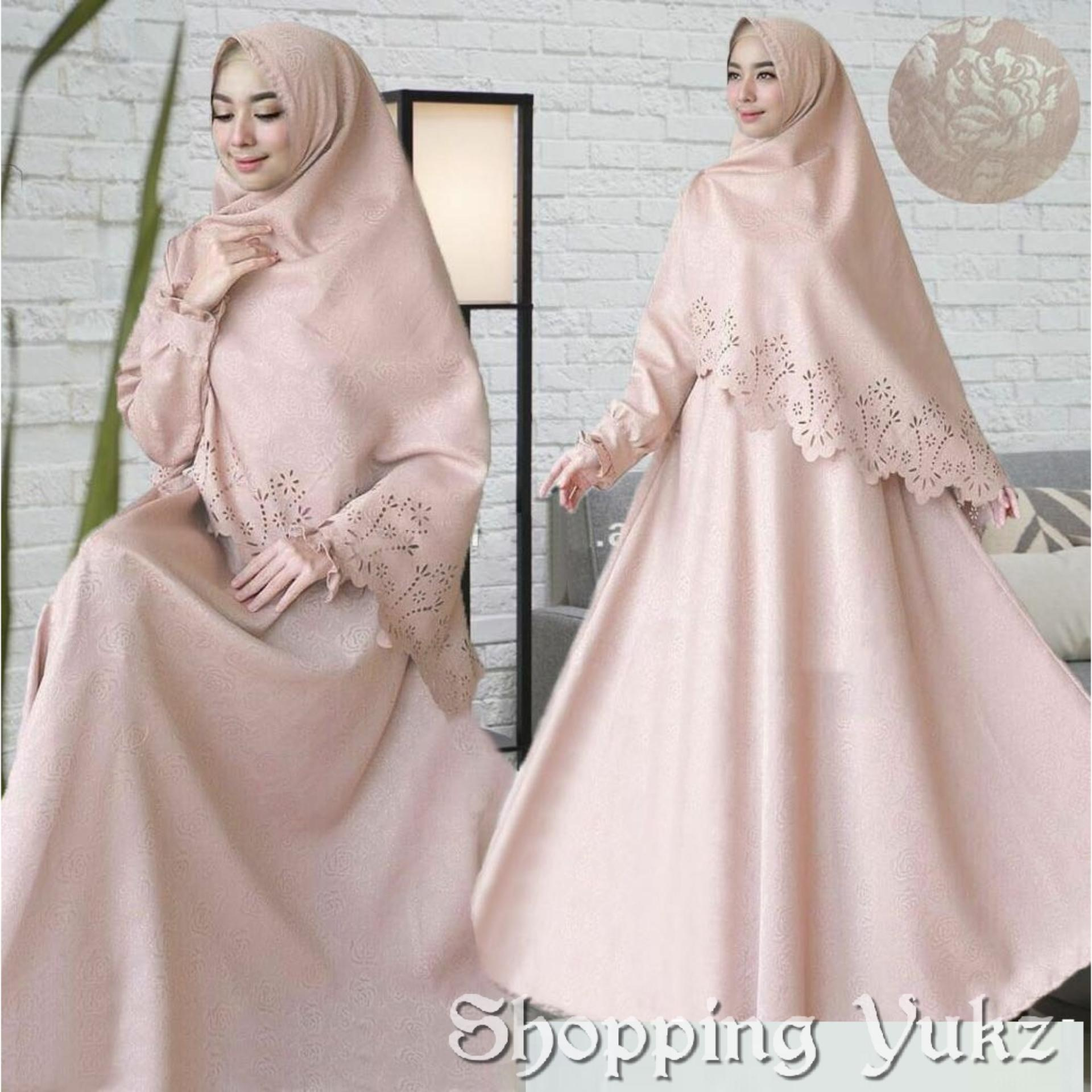 Shopping Yukz Baju Gamis Dress Muslim Syari Wanita RESYIA Emboss Laser LATTE Dapat