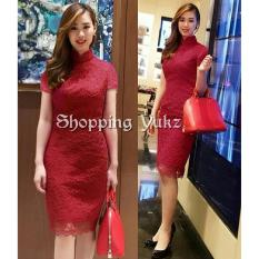 Shopping Yukz Dress Brukat Wanita ELBIE - MAROON / Dress Korea / Dress Renda / Lace Dress / Gaun Pesta