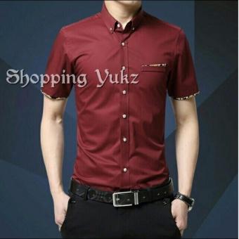 Shopping Yukz Kemeja Pria Lengan Pendek JEMMY - MAROON / Kemeja Formal Pria / Kemeja Casual
