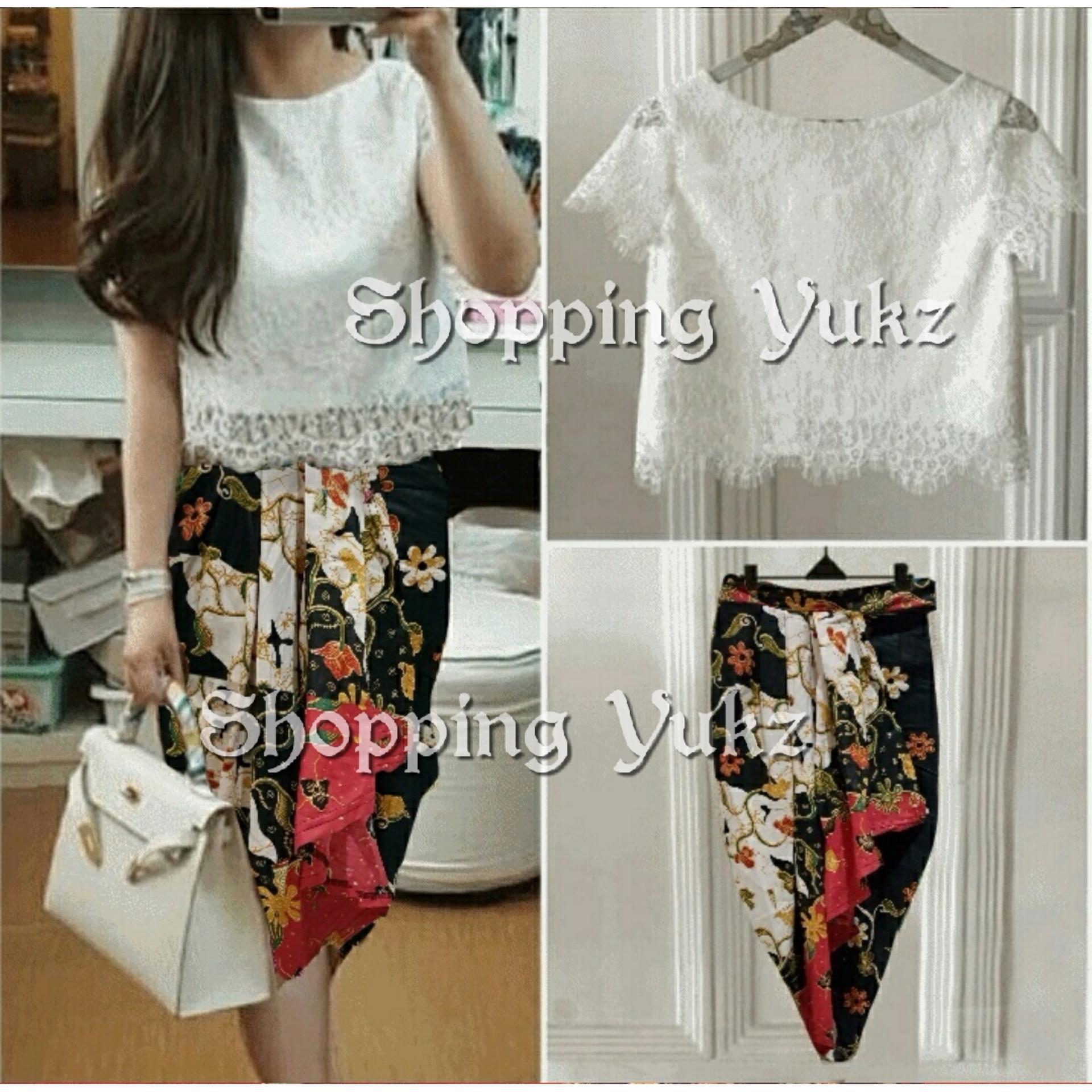 Shopping Yukz Setelan Lace dan Rok Batik Wanita VANNY WHITE Stelan brukat Rok