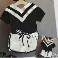 Shopping Yukz Stelan Baju dan Celana Anak Mily - BLACK / Stelan Anak Perempuan / Baju Anak Perempuan / Stelan Anak / Baju Anak