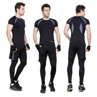 Sige Gambar Ukuran Besar Pria Lengan Pendek Legging Cepat Kering Pakaian Joging Kebugaran Pakaian (Hitam) (Hitam)