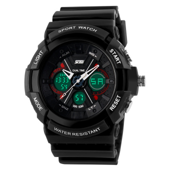 SKMEI Super X Digital LED Sport Watch AD0966 Water Resistant Anti Air WR 50m Jam Tangan Pria Tali Strap Karet Silicone Wristwatch Military Sporty - Hitam