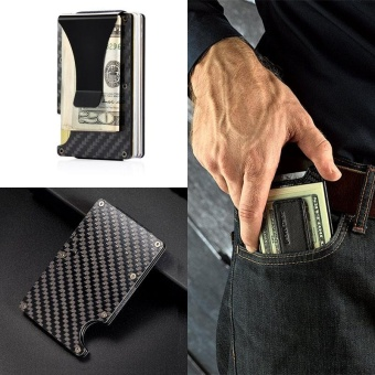 Slim Carbon Fiber Money Clip Wallet, RFID EDC Card Holder - intl