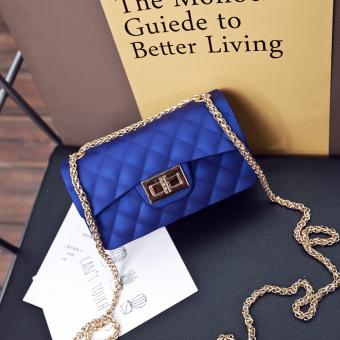 Small Fragrant Wind beludru Mini paket bahu Messenger Bag tas (Biru kecil (jelly tas