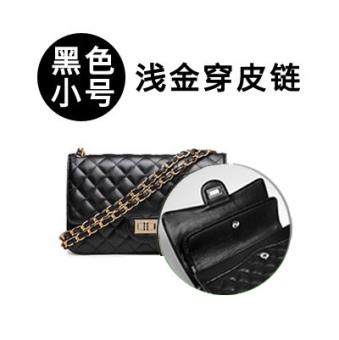 Small Fragrant Wind kulit domba bahu portabel tas wanita tas wanita (Ganda penutup hitam emas