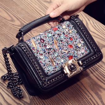 Small Fragrant Wind Shishang tas Mobile Messenger tas bahu tas kecil (Berlian warna-warni