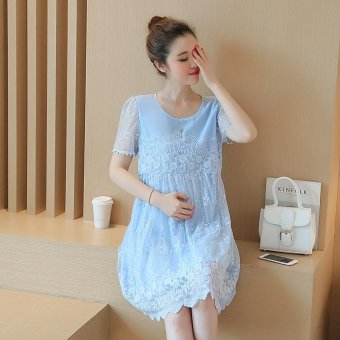 Small Wow Maternity Going Out Round Solid Color Lace Above Knee Dress Blue - intl