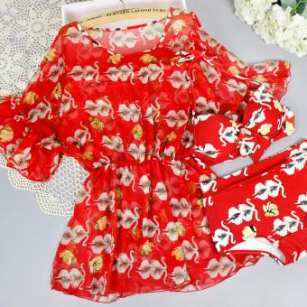 Pelacakan Harga Spa perpecahan gaya rok petinju baja prop berenang baju renang baju renang (Bunga merah perempuan) Perbandingan harga